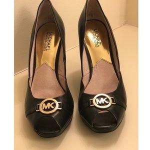 MICHAEL Michael Kors peep toe leather wedges